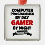 Informático por videojugador del día por noche adornos de navidad