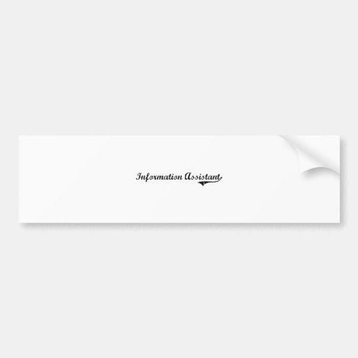 Information Assistant Professional Job Car Bumper Sticker