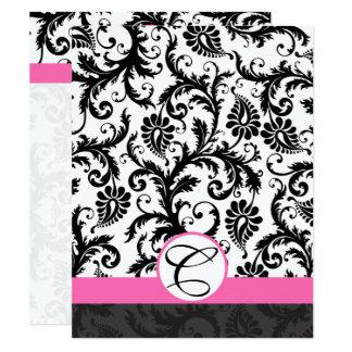 Information Cards-Black  Damask Hot Pink Trim Card