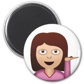 Information Desk Person Emoji 2 Inch Round Magnet