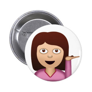 Information Desk Person Emoji Pinback Button