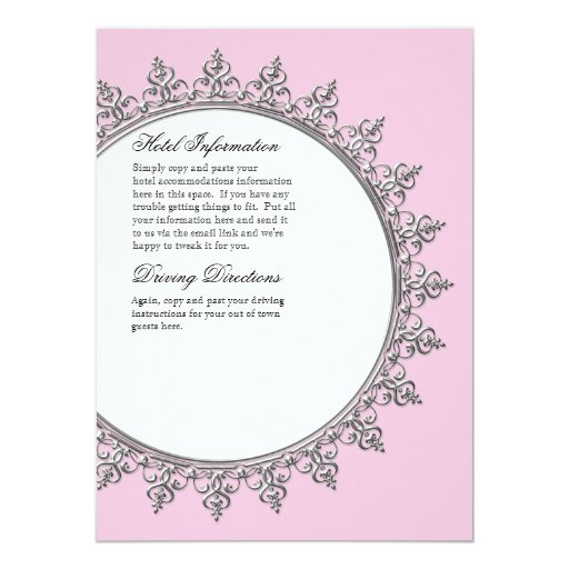 Information Insert - Classic Baroque Swirl Circle Personalized Announcements