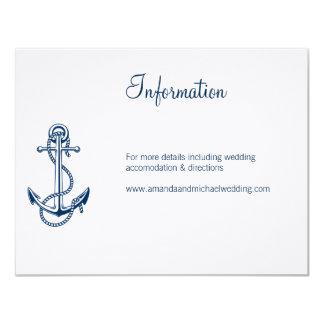 Information Nautical Wedding Card   Anchor blue
