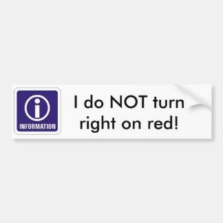 ¡Information_sign, no hago gire a la derecha en ro Pegatina Para Auto