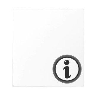 Information Symbol Notepad