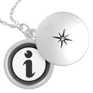 Information Symbol Round Locket Necklace