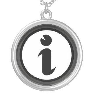 Information Symbol Round Pendant Necklace