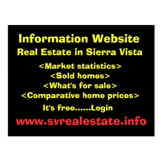 Information Website, Real Estate in Sierra Vist... Postcard