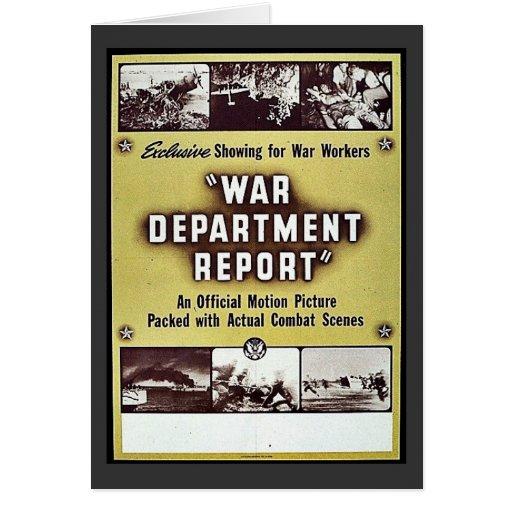 Informe del departamento de guerra tarjeta de felicitación