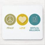 Informes médicos del amor de la paz tapete de raton