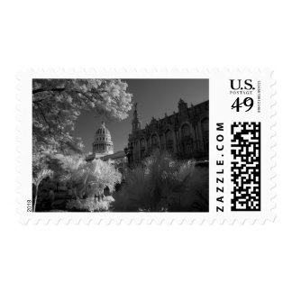 Infra red of Capitol building dome in Havana Postage