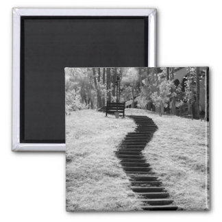 Infra red of trees buildings and trails in Las Refrigerator Magnets