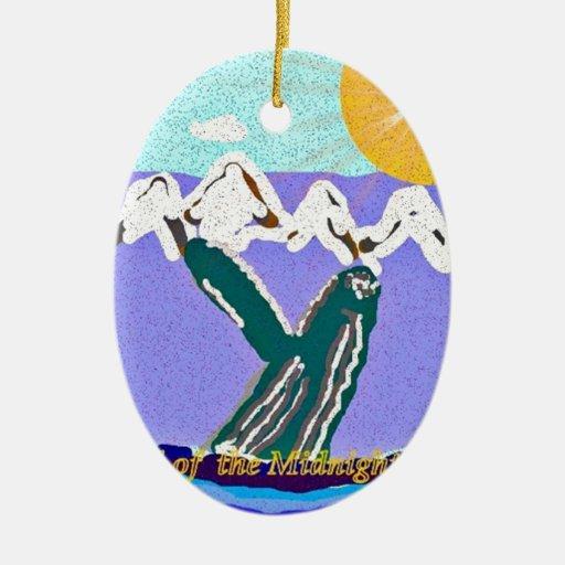 Infracción a la ballena jorobada del sol de adorno navideño ovalado de cerámica