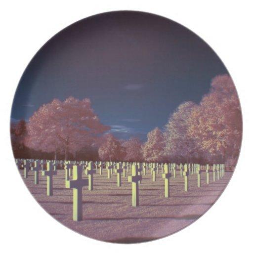 Infrared American Cemetery Crosses Dinner Plates
