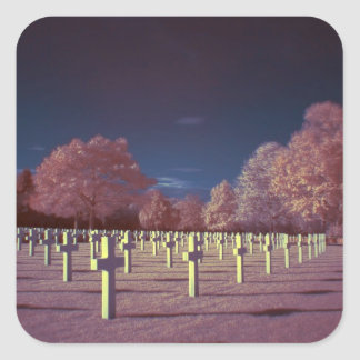 Infrared American Cemetery Crosses Square Sticker