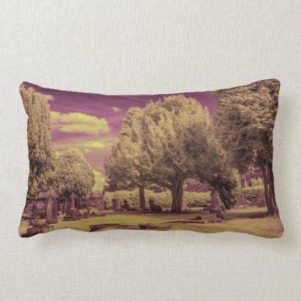 Infrared graveyard landscape pillow