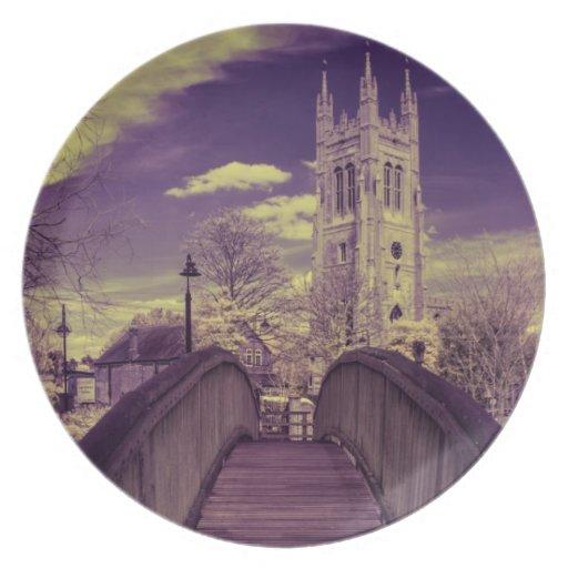 Infrared landscape Bridge and Church Plate