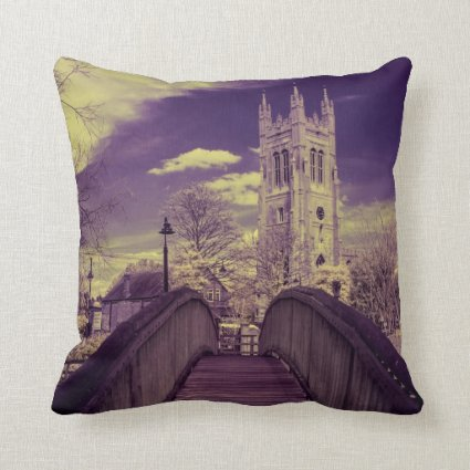Infrared landscape Bridge and Church Throw Pillows