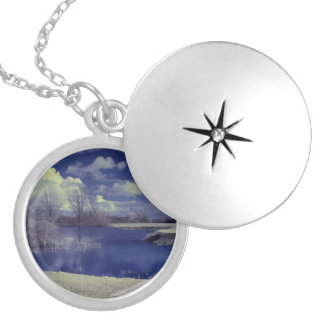 Infrared landscape in blue with lake locket necklace