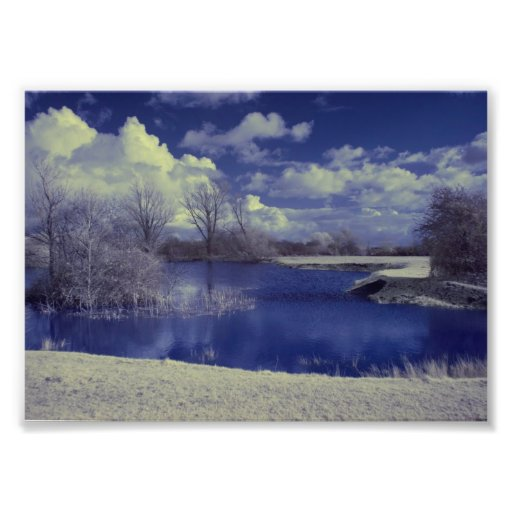 Infrared landscape in blue with lake photo
