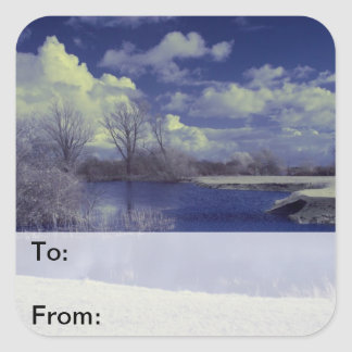 Infrared landscape in blue with lake square sticker
