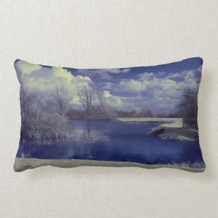 Infrared landscape in blue with lake throw pillow