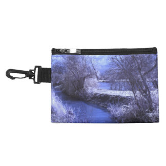 Infrared landscape with stream in blue accessory bag