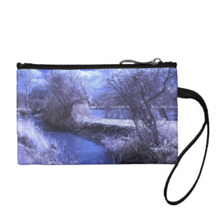Infrared landscape with stream in blue coin purse
