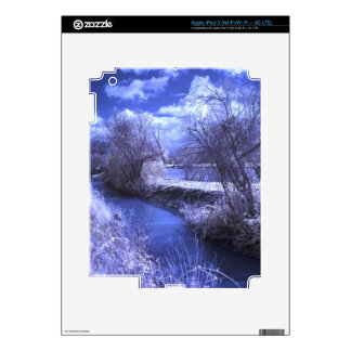 Infrared landscape with stream in blue iPad 3 decals