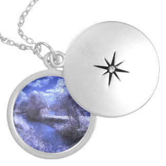 Infrared landscape with stream in blue locket necklace