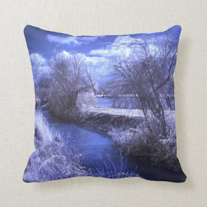 Infrared landscape with stream in blue throw pillows
