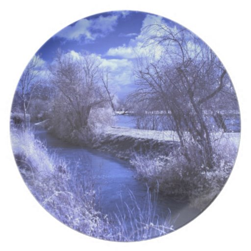 Infrared landscape with stream in blue dinner plates