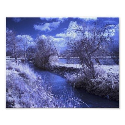 Infrared landscape with stream in blue print