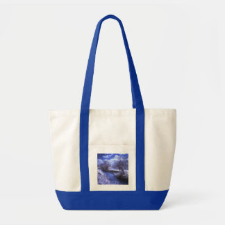 Infrared landscape with stream in blue tote bag
