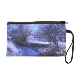 Infrared landscape with stream in blue wristlet