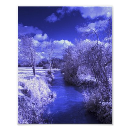 Infrared landscape with stream poster