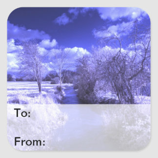 Infrared landscape with stream square sticker