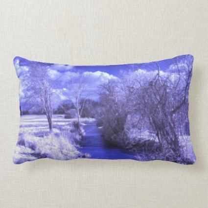 Infrared landscape with stream throw pillow