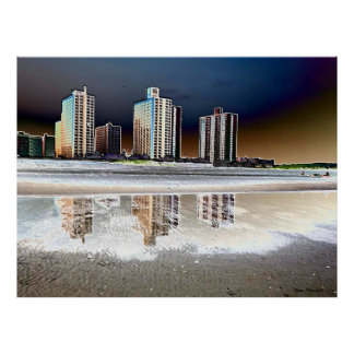 Infrared NYC Beach Front View Abstract Print