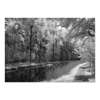 infrared photo of an old channel 5x7 paper invitation card