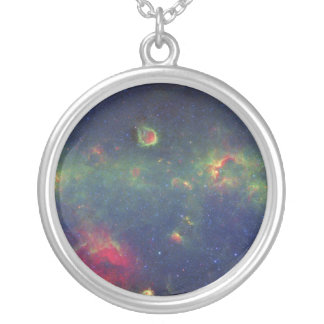 Infrared Portrait of the Inner Milky Way Galaxy Silver Plated Necklace