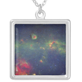 Infrared Portrait of the Inner Milky Way Galaxy Square Pendant Necklace