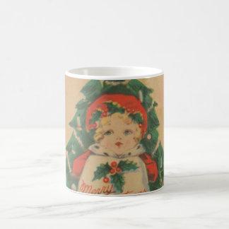 Infront del niño del navidad del vintage del árbol taza básica blanca