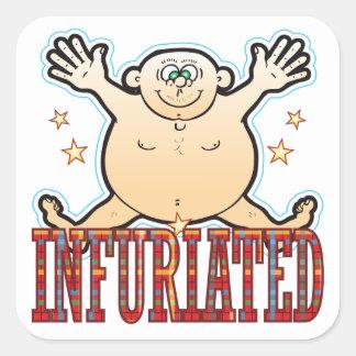 Infuriated Fat Man Square Sticker