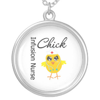Infusion Nurse Chick v1 Round Pendant Necklace