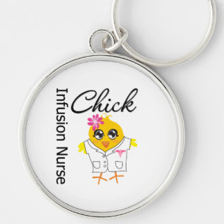 Infusion Nurse Chick v2 Silver-Colored Round Keychain