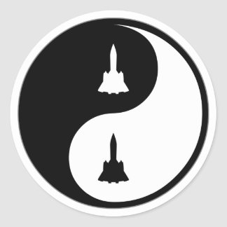 Ingeniería aeroespacial de Yin Yang Pegatina Redonda