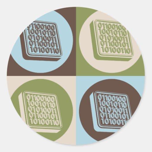 Ingeniería de programas informáticos del arte pop etiquetas redondas