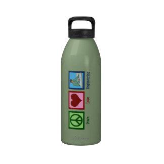 Ingeniería del amor de la paz botellas de beber