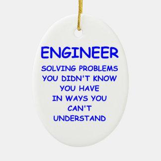 ingeniería del ingeniero adorno navideño ovalado de cerámica